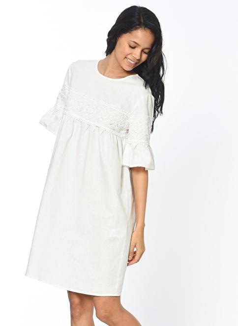 Koton Dantel Detaylı Elbise Beyaz